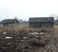 Сотрудники фирмы Меридиан на замере участка Тверская область Калининский район Слобода